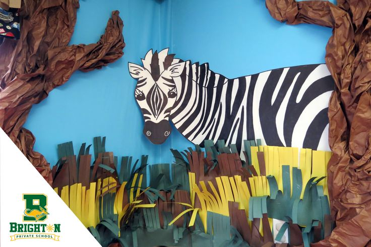 School hallway decor - African theme, Jungle, Safari. Brighton Private Elementary School, located in Folsom, CA Before and Aftercare, Spring and Summer Camps, school website
