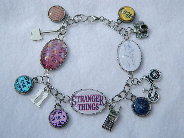 """Stranger Things 8"""" Charm Bracelet Silver Eleven Upside Down Shes Our Friend and Shes Crazy by 1NerdCreations on Etsy"""
