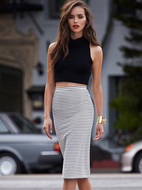 High waisted skirt and black turtleneck crop.
