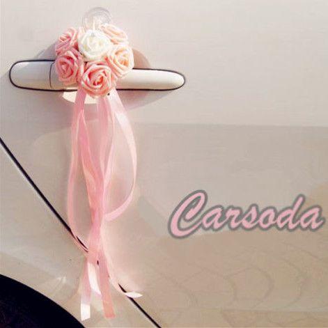 Wedding Car Decoration  Pink Heart Shape Roses For Limousine Door Side