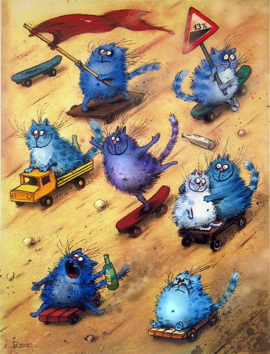 Here they are - unruly and romantic, blue cats hudrzhnitsy Irina Zenyukov, Russian artist. Real cat lives intertwined with fantastic pictures of the cat being. Fantasy artist takes the viewer into the bizarre world of blue cats, which, however, is so close to a human viewer.
