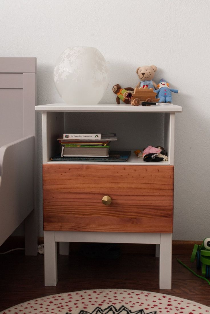 Ikea Tarva nightstand hack - I don't like this color combo, but we need to spruce up our nightstands - add brass pulls and paint