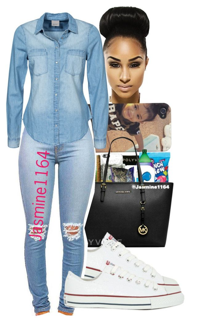"""Usher And Juicy J~~Dont Mind"" by jasmine1164 ❤ liked on Polyvore featuring Converse and Vero Moda"