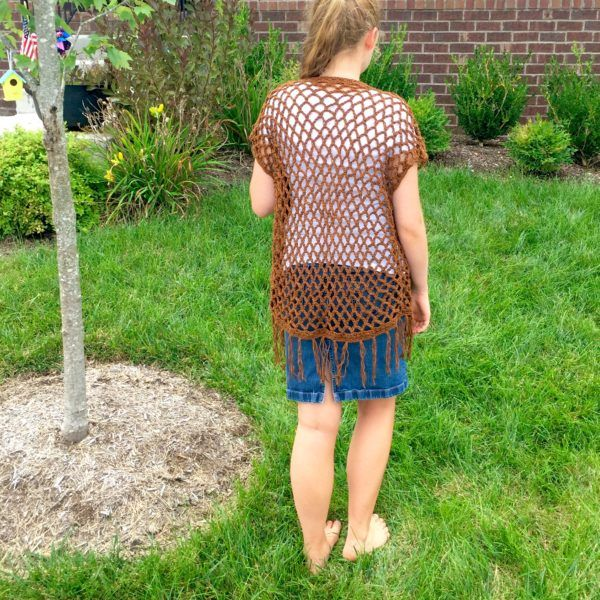 Hannah Kimono crochet pattern in brown by Little Monkeys Design. This is a great Fall layering piece.