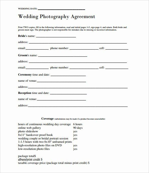 Simple Wedding Photography Contract Template Lovely 17 Wedding Template In 2020 Wedding Photography Contract Template Wedding Photography Contract Photography Contract