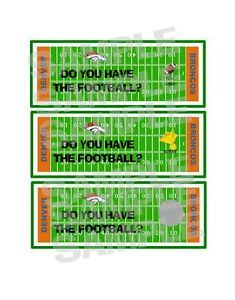 DENVER BRONCOS FOOTBALL TEAM tailgate birthday party game scratch off tickets