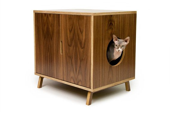 Mid Century Modern Pet Furniture // Cat Litter Box Cover // Pet House via Etsy