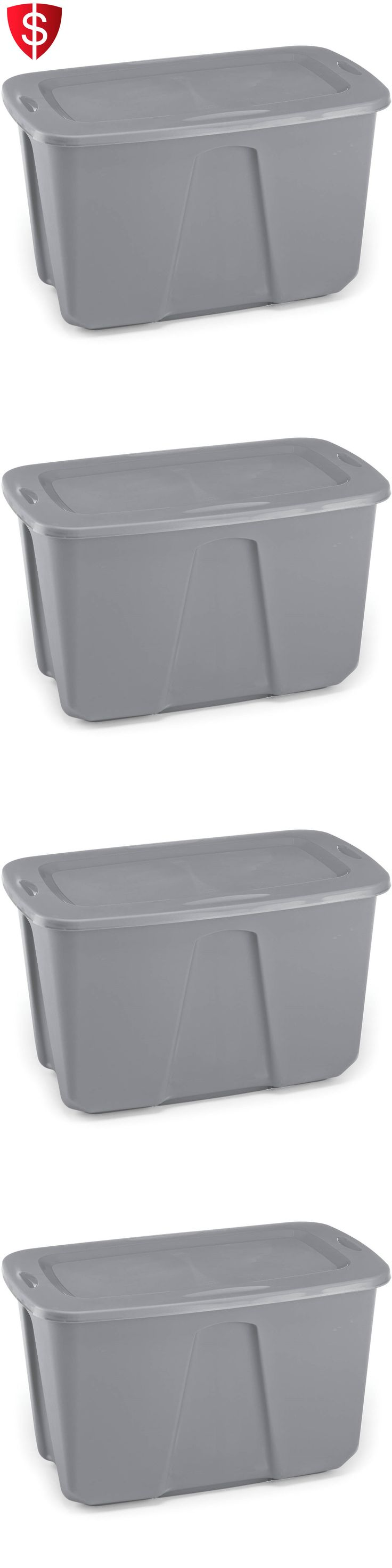 White tilt out clothes storage basket bin bathroom drawer ebay - Storage Boxes 159897 Set Of 6 32 Gallon Titanium Tote Large Storage Organizer Bin Silver