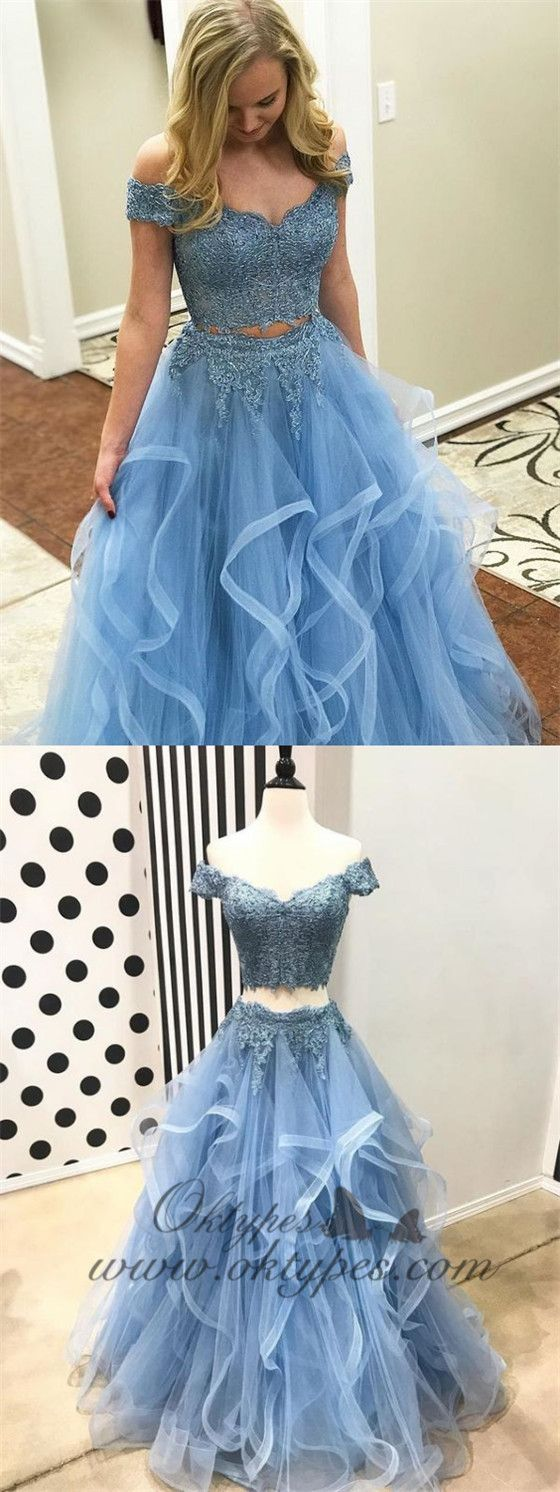 2 piece white lace dress may 2019 Off the Shoulder Two Piece Prom DressesLace  Piece Formal Dresses