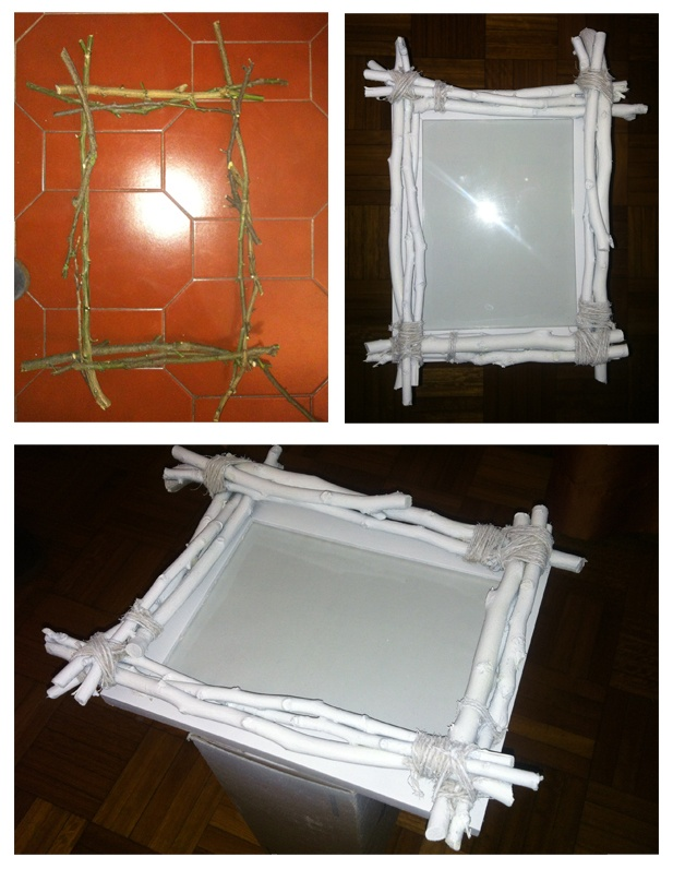 DIY Natural Picture Frame - Twigs and Branches Bound are Together With Twine, Glued to an Existing Wooden Frame, Then the Entire Piece is Painted White