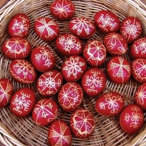Painting eggs red for Easter is a long time tradition in Romania #traditions #travel