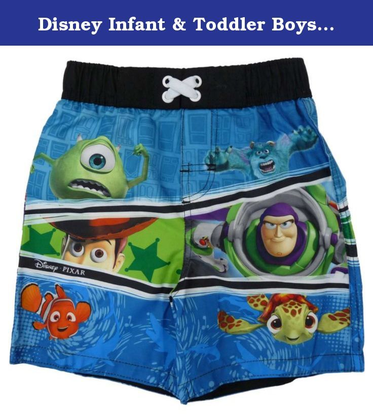 Disney Infant & Toddler Boys Blue Swim Trunks Pixar Board Shorts 24m. These exciting Pixar themed swim trunks featuring the characters from Monsters Inc, Toy Story and Finding Nemo are perfect for the pool and beach! Board Shorts Size: Infant & Toddler boys UPF 50+ Elastic waist with mesh insert 100% polyester, machine washable Brand: Disney .