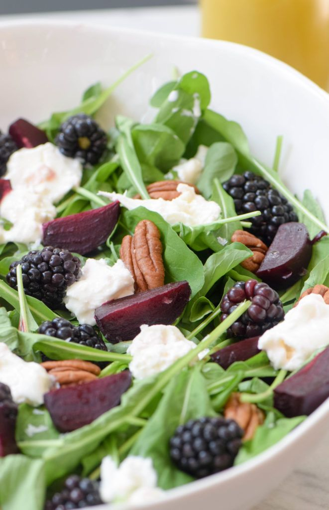 A roasted beet and arugula salad with blackberries and burrata in a honey-lime vinaigrette makes a perfect fall first course or an addition to your Rosh Hashanah table.