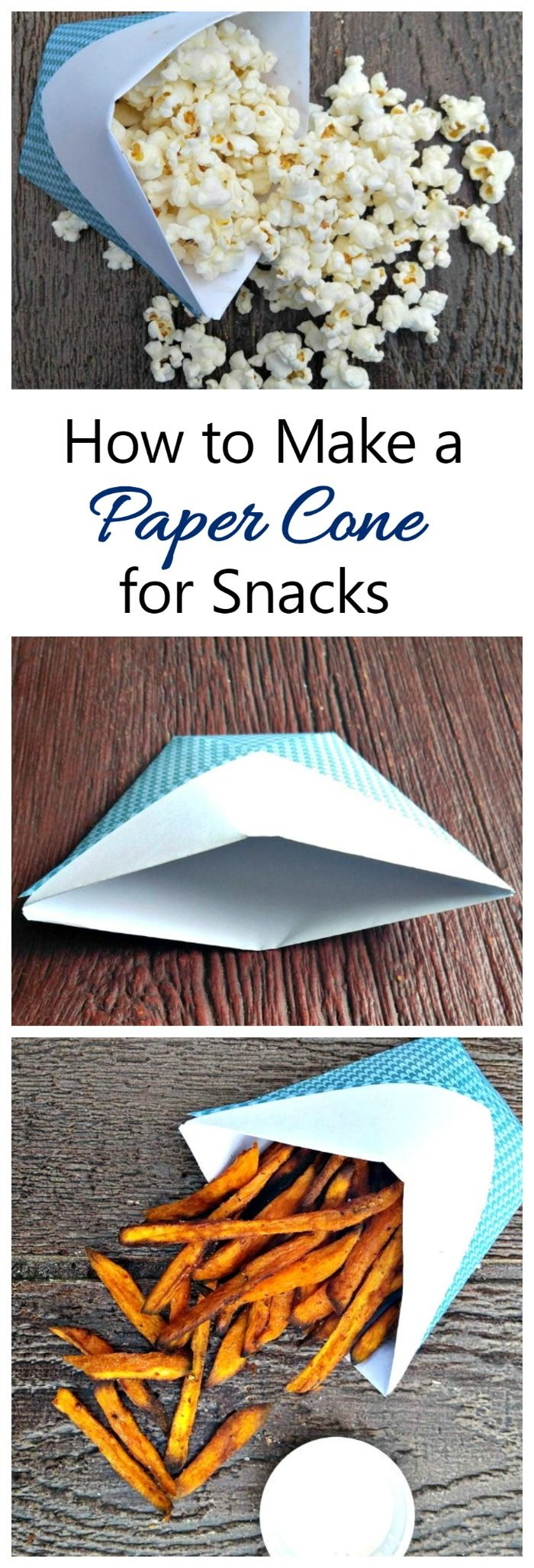 This DIY paper cone makes a great snack holder. It is made with just one supply and a few seconds of time!