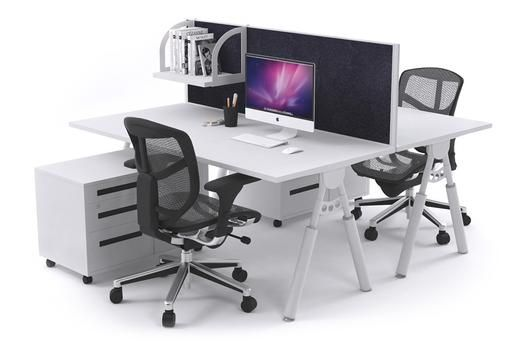 Elements 2 Person Workstation Double Sided With Divider White Leg. This Elements workstation is a 2 person desk with an aluminium framed screen divider. The Elements system hides your electrical cables with Its built in cable tray and this ergonomic workstation is height adjustable.