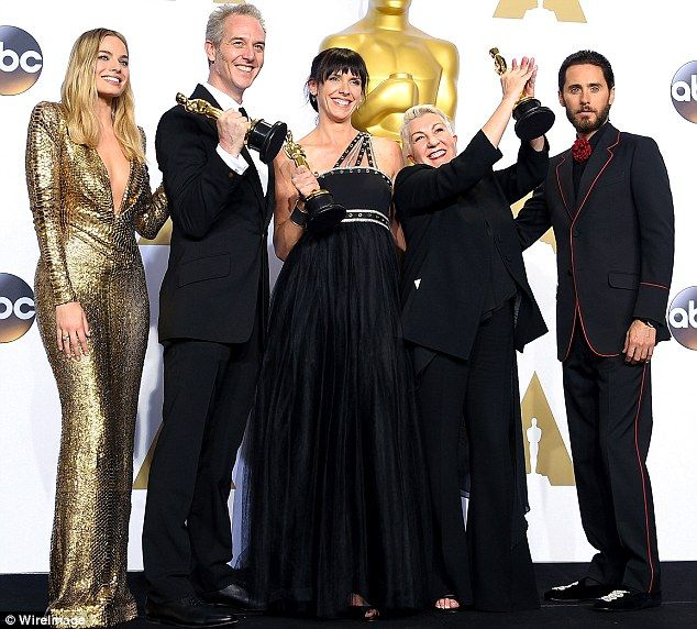 Oscars 2016: Mad Max: Fury Road's Oscar-winning makeup artist Lesley Vanderwalt (second from right) said her arm ached from carrying the 'heavy' award. Also pictured, from L to R, Margot Robbie,Damian Martin,Elka Wardega and Jared Leto