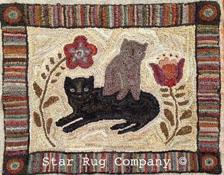 "$60 Star Rug Company - 24""h x 30""w. Favorite Cats."