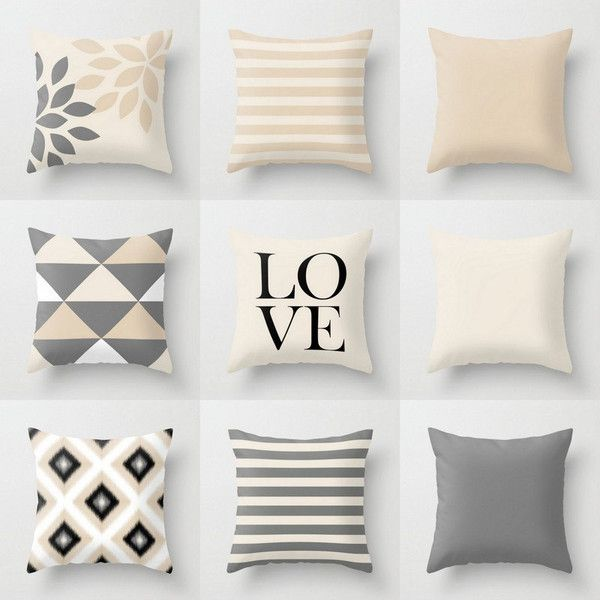 Neutral Pillow Covers Throw Pillows Neutral Home Decor Grey Beige... ($25) ❤ liked on Polyvore featuring home, home decor, throw pillows, decorative pillows, home & living, home décor, silver, cream throw pillows, gray accent pillows and outdoor accent pillows