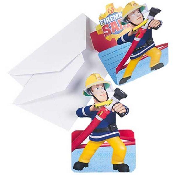 Kindergeburtstag Einladungskarten Feuerwehrmann Sam, 8 Stück