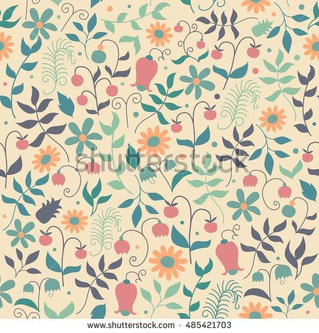 Vector floral pattern in doodle style with flowers and leaves. Gentle floral background