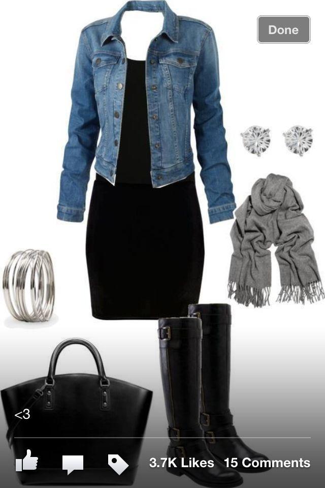 dress and jean jacket