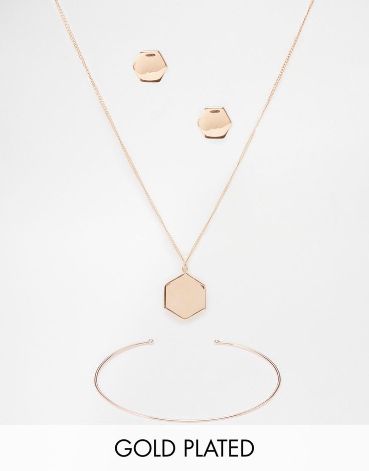 ASOS Rose Gold Plated Sterling Silver Hexagon Earrings Necklace and Bracelet Gift Set