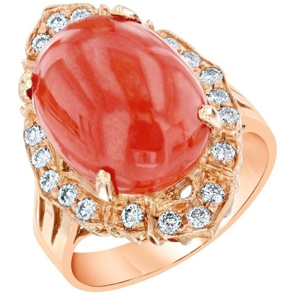 Preowned 7.48 Carat Coral Diamond Cocktail Ring ($2,750) ❤ liked on Polyvore featuring jewelry, rings, engagement rings, red, cocktail rings, pre owned diamond rings, 14k diamond ring, diamond band wedding ring and pre owned engagement rings