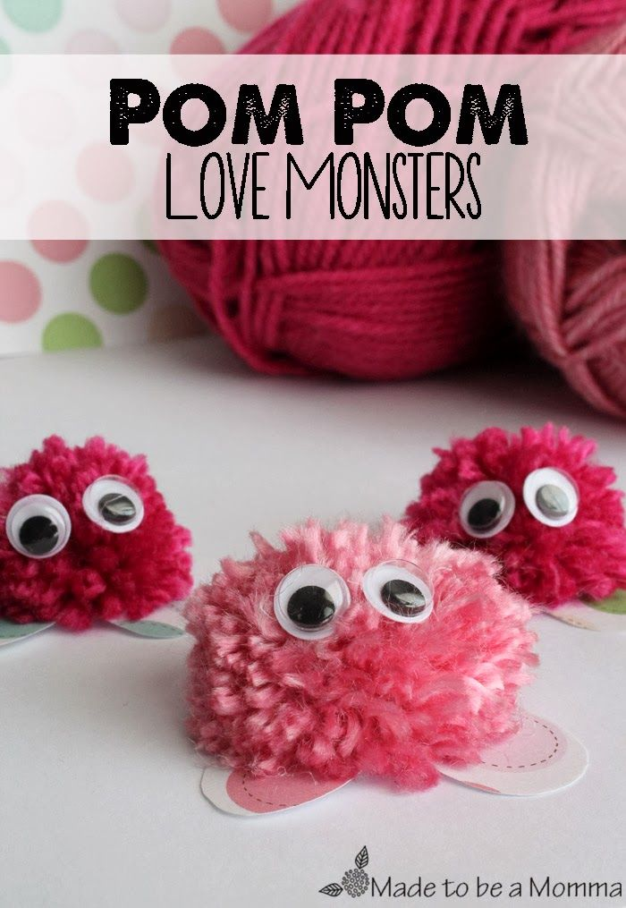 so cute!!  perfect kids craft for valentines!{Kids Contributor} Pom Pom Love Monsters ~ Sugar Bee Crafts
