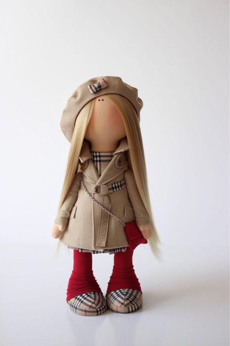 Коллекционные куклы ручной работы. Burberry Girl. milahandycrafts. Ярмарка Мастеров. Кукла, кукла интерьерная, для дочки, трикотаж, тесьма