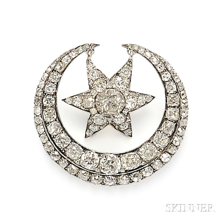 Antique Diamond Star and Crescent Brooch, set with old mine-cut diamonds, approx. total wt. 4.00 cts., rhodium-plated silver-topped gold mount, lg. 1 1/2 in.