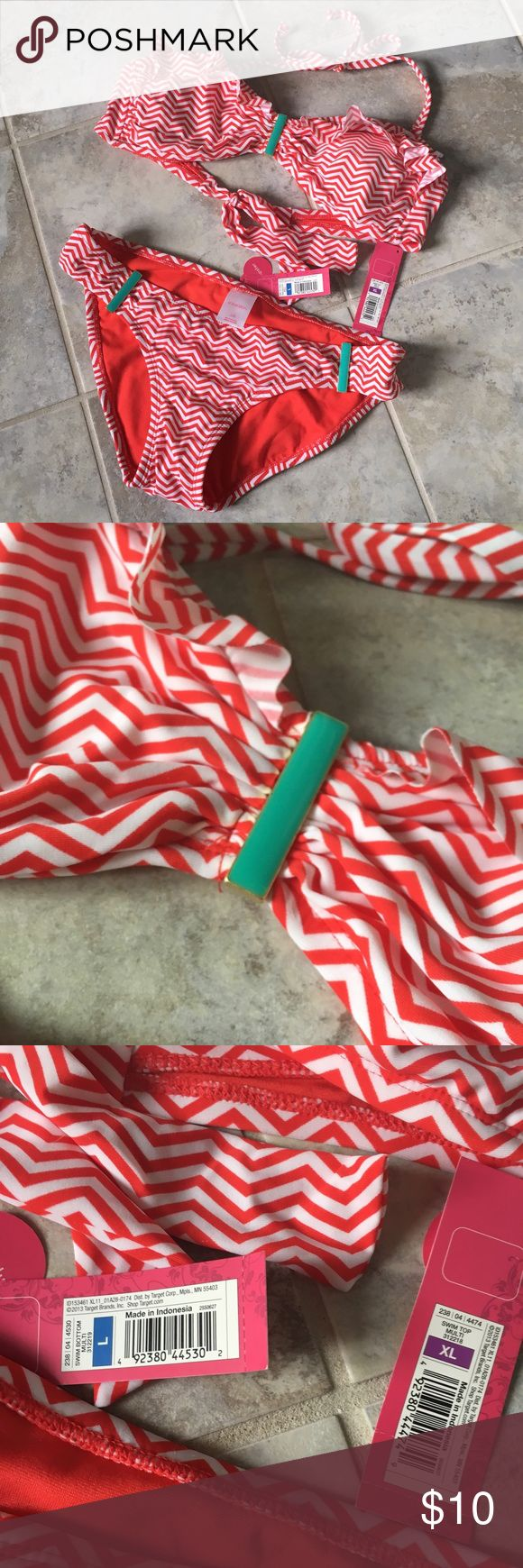 NWT Target Xhilaration red/white chevron Bikini NWT Target Xhilaration red/white chevron Bikini with turquoise details, top size XL, bottom size Lg. never worn, new with tags and liner Xhilaration Swim Bikinis