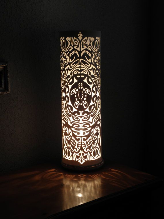 Handmade recycled PVC pipe table lamp. Ancient Maori by GlowingArt, $110.00