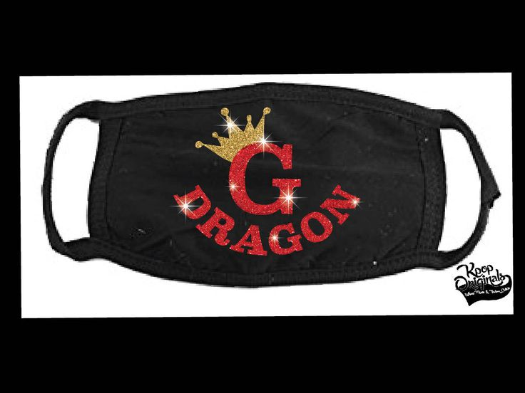 """G DRAGON - """"GD"""" crown gold & red glitter logo on black face mask  - get ready for the concert coming up!!  Bling Bling!!  Show your LOVE! by KpopOriginals on Etsy"""