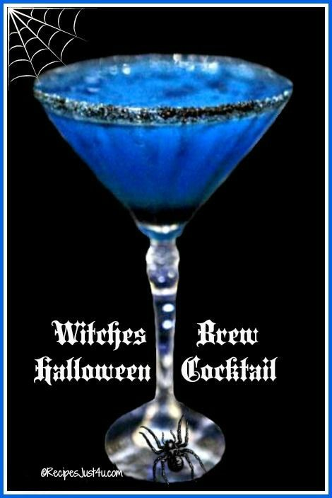 This witches brew Halloween cocktail has a pretty blue color that is perfect for the holiday. Black sanding sugar on the rim makes it special.