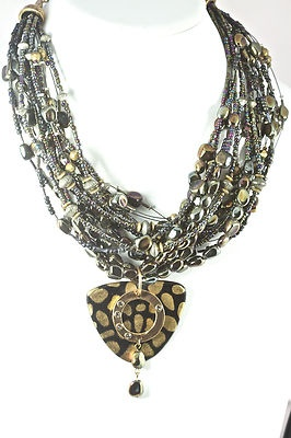 Very Nice 2012 Fashion  CHICO'S Fashion Jewelry Multi Strand and Color Animal Print Pendant Necklace