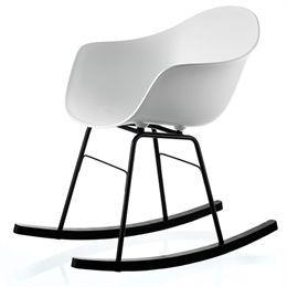 Albert gyngestol - Hvid Moderne og nutidig gyngestol med sort stel og fødder af sort egetræ