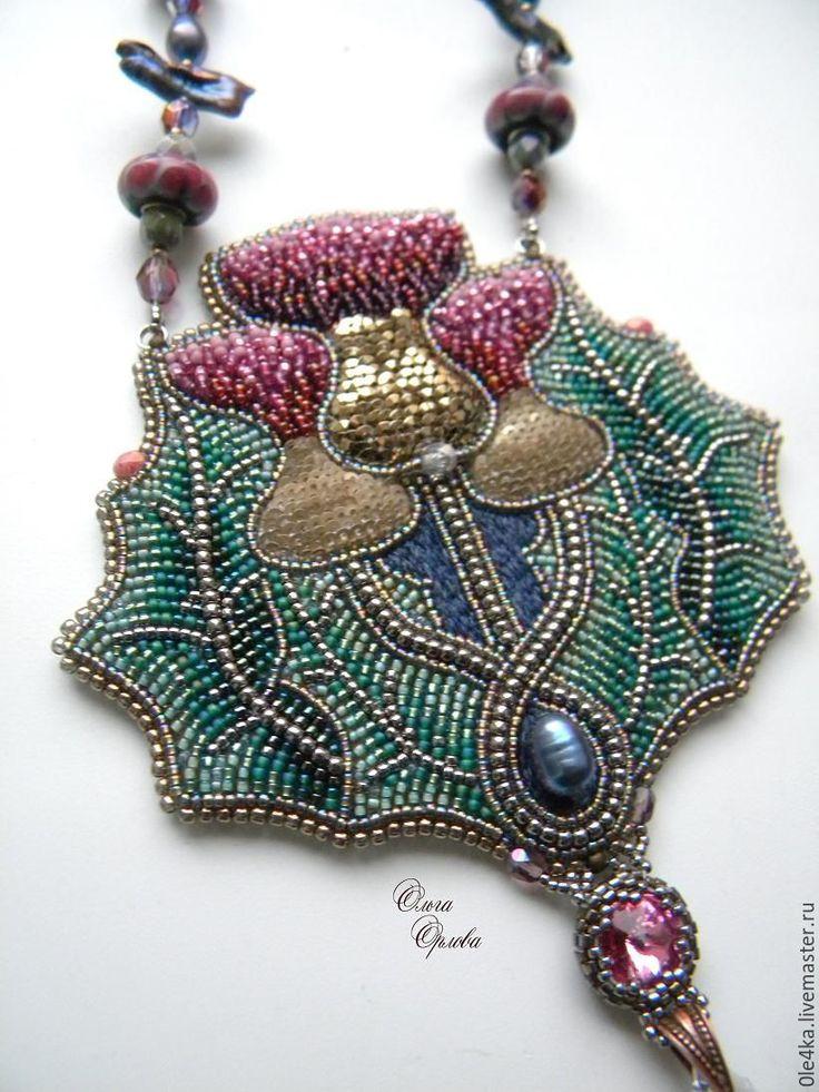 Купить Репей - комбинированный, ольга орлова, репейник, кулон с цветами, жемчуг, кристаллы сваровски (swarovski)