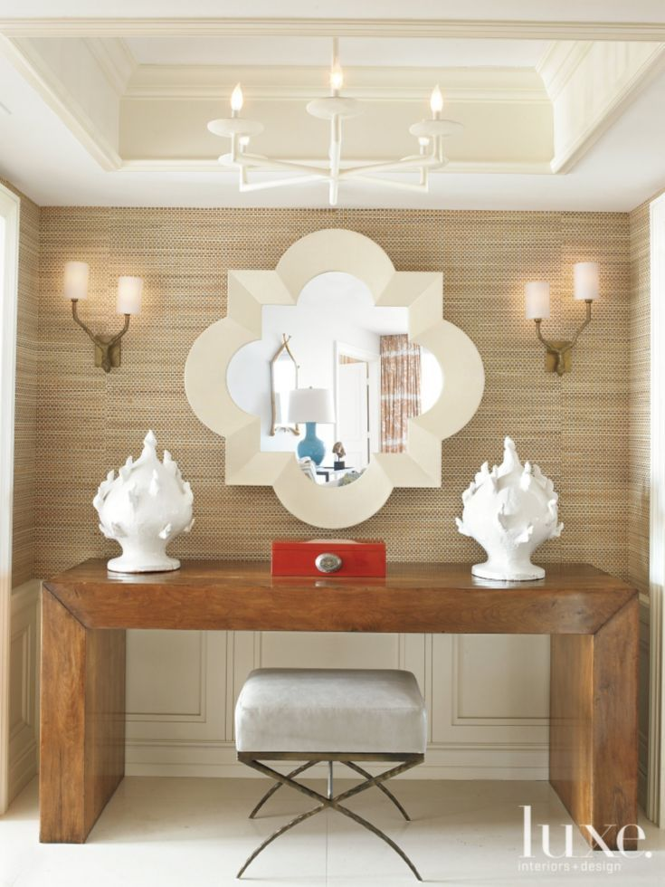 Eclectic Foyer with Grass-and-Paper Wallcovering