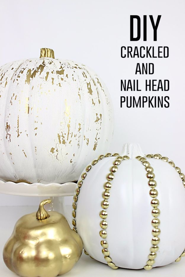 34 Pumpkin Decorations For Fall - Crackled And Studded Pumpkins - Easy DIY Pumpkin Decor Ideas for Home, Yard, Outdoors - Cool Pumpkin Decorating Ideas for Adults and Kids Party, Creative Crafts With Paint, Glitter and No Carve Projects for Halloween http://diyjoy.com/pumpkin-decorations-fall