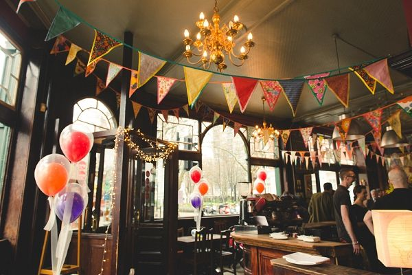 bunting & balloons wedding, image by http://www.babbphoto.com/