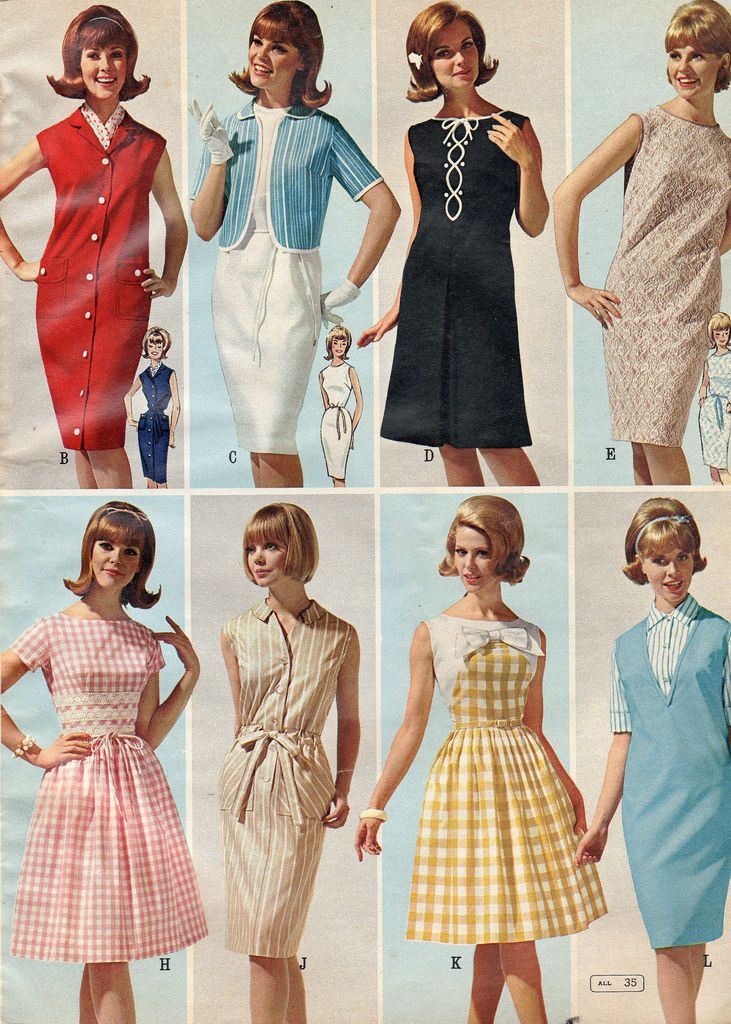 Great Summer Values 1965 fashion style sheath shift full skirt dress red blue white black pink yellow tan 60s vintage color photo catalogue models