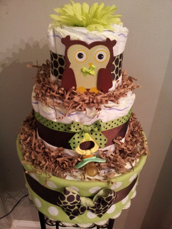 OWL 3 Tier Diaper Cake Forest Theme, Baby Shower Decoration/centerpiece