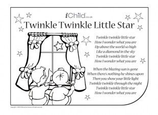"twinkle twinkle little star coloring page | View and print the ""Twinkle, Twinkle Little Star Nursery Rhyme Lyrics ..."