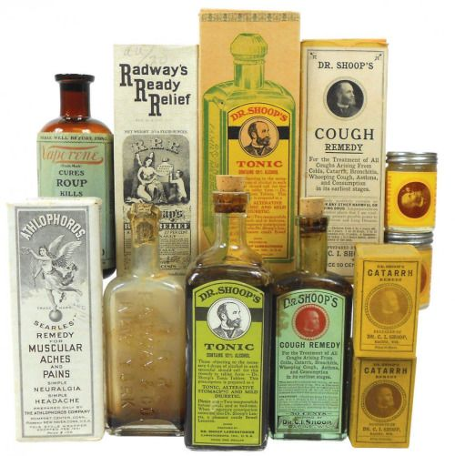 Drug store medicines Athlophoros Remedy (never opened), Dr. Shoop's Tonic, Dr. Shoop's Cough Remedy, Radway's Ready Relief, Dr. Shoop's Catarrh Remedy & Vaporene (for fowls).
