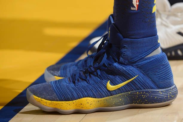 the sneakers worn by Draymond Green of the Golden State Warriors are seen during the game against the Minnesota Timberwolves on January 25 2018 at...