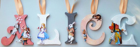 "Alice in Wonderland (Vintage) 8"" Personalized Childrens Wood Letters on Etsy, $19.00"