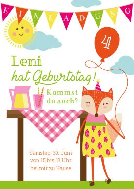 Fröhliche Einladungskarte Fürs Picknick Oder Gartenfest Zum 4.  Kindergeburtstag Mit Fuchsmädchen