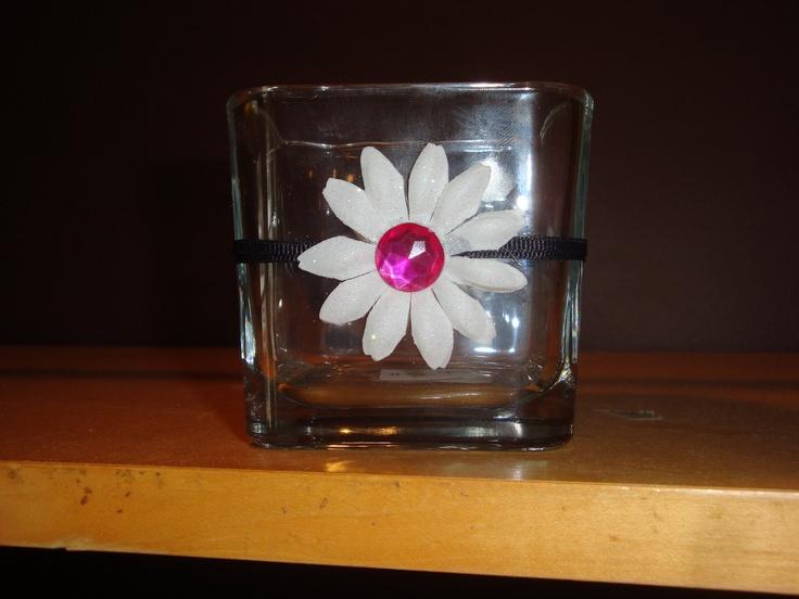 Beautiful Pink White Black Flower Votive Candle Holder