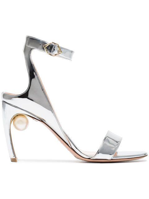 0da07d0d39c Nicholas Kirkwood Silver Lola Pearl 90 Leather sandals