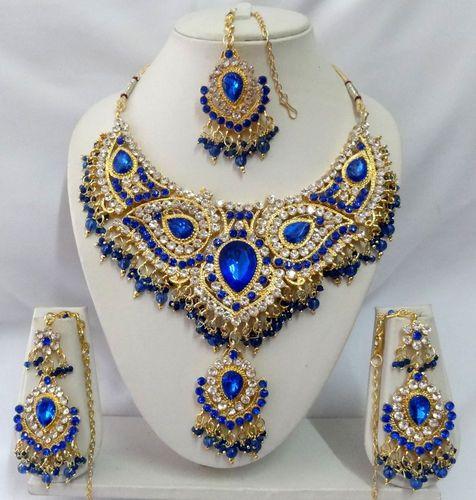 Indian Bollywood Jewelry Diamante Kundan Necklace Set Wedding Jewellery T9001   eBay